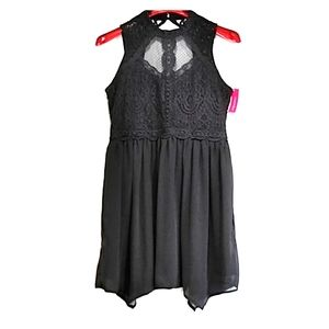 Xhilaration  dark grey lace truffle dress sz L